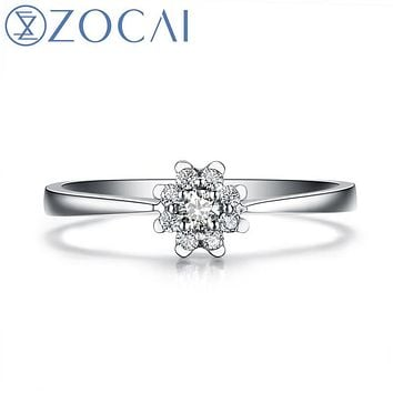 ZOCAI BRIGHT MOON HEART 0.13 CT NATURAL CERTIFIED H / SI DIAMOND ENGAGEMENT RING ROUND CUT 18K WHITE GOLD JEWELRY W02960