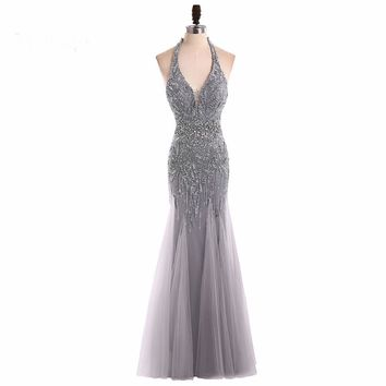Long evening dress beaded mermaid women pageant gown for formal prom party