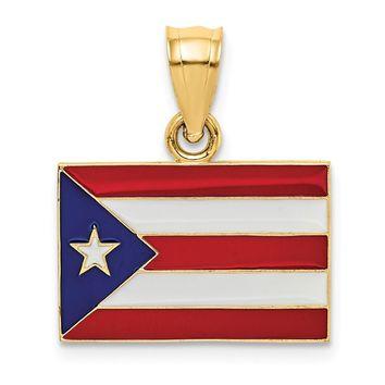 14k Yellow Gold Solid Enameled Puerto Rico Flag Pendant
