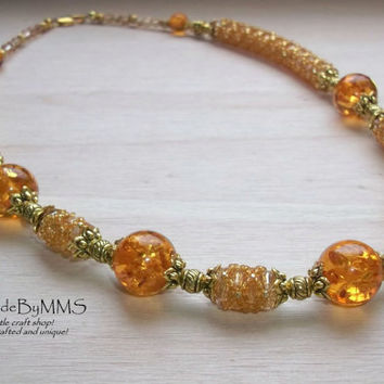 Amber beadwork necklace, Statement necklace, Jewelry for her, Unique necklace, Special gift, Gifts for her, Seed bead necklace, Handmade