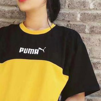 PUMA Contrast Women Men Fresh Tee Shirt Top B-LWWM-SZ  Black/Yellow