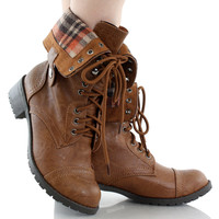 Oralee-S Fold Over Plaid Combat Boots