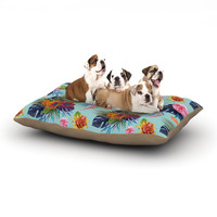 "Nika Martinez ""Tropical Floral"" Blue Flowers Dog Bed"