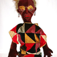 Very Large Handmade Antique/Vintage Cotton Velvet Tribal Doll With Original Patchwork Robe.