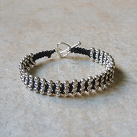 Wrapped Bracelet with silver plated beads and heart clasp, elegant macrame bracelet