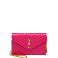 Monogramme Matelasse Shoulder Bag, Fuchsia - Saint Laurent