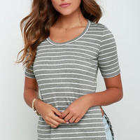 Leave the Elite On Grey and White Striped Tunic Top