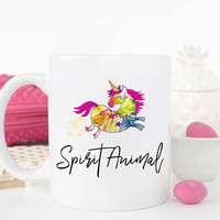 Spirit Animal Mug, Unicorn Mug, Unicorn Spirit Animal, Gift for Girlfriend Coffee Mug, Funny Unicorn, Coffee Mug, Gift for Her, Wife Gift