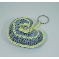 Crochet keychain, Key accessories, bag accessories - Heart Shape with a satin flower- Gift or other occasion