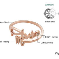 12 Constellations Titanium Rose Gold Plated Ring(Scorpio)