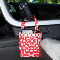 Car Cellphone Caddy ~ Cherry Lotus ~ Cherry Dots Band ~ Center Console Handle