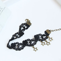 Gothic Vintage Black Lace Women's Anklet Bracelet with Stars Pendants Anklet Barefoot Jewelry