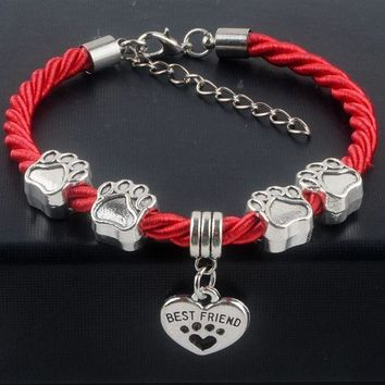 CREYM83 New Hot Sale Fashion Hand-Woven Rope Chain rope Bracelets dog paw best friend Charms Bracelets Jewelry for women XY160480