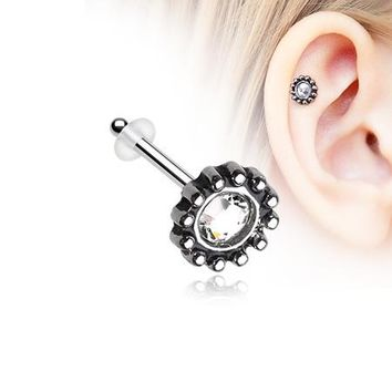 Aira Filigree Sparkle Icon Piercing Stud with O-Rings