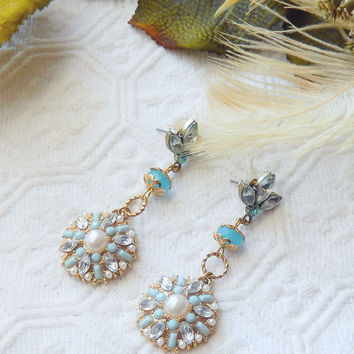 Handcrafted Light Blue Crystal Gold and Pearl Chandelier Post Earrings