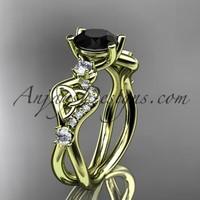 14kt yellow gold celtic trinity knot engagement ring, wedding ring with a Black Diamond center stone CT768