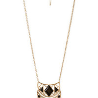 FOREVER 21 Long Crescent Pendant Necklace Gold/Black One