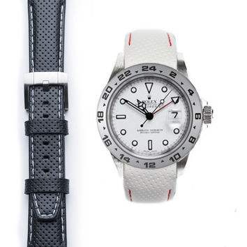 Everest Curved End Racing Leather Strap with Tang Buckle for Rolex Explorer II