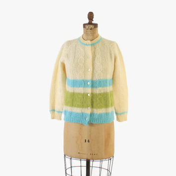 Vintage 60s MOHAIR CARDIGAN / 1960s Striped Cable Knit Shaggy Wool Cardi Sweater M