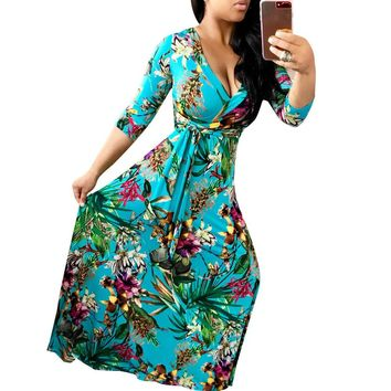 Plunging Print Maxi Dress with 1/2 Sleeves