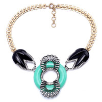 Ambella Jewelry Emerald Ring Piano Black Statement Necklace