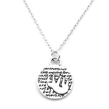Kevin N Anna Sloth (Perseverance quote) Sterling Silver Small Pendant Necklace