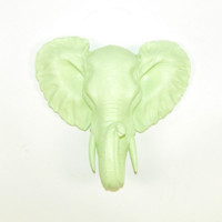 The Alfie | Mini Elephant Head | Faux Taxidermy | Mint Green Resin