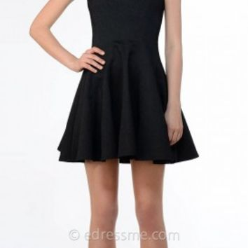 V Neck Woven Pleated Circle Skirt Dress by Greylin