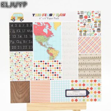 KLJUYP 24 Sheets The First Day Scrapbooking Pads Paper Origami Art Background Paper Card Making DIY Scrapbook Paper Craft