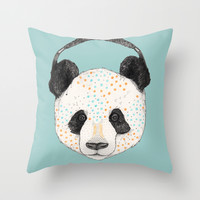 Polkadot Panda Throw Pillow by Sandra Dieckmann