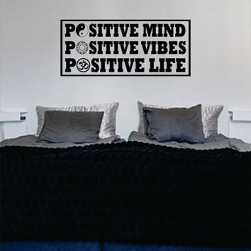 Positive Mind Vibes Life Version 2 Square Yin Yang Flower Om Quote Decal Sticker Wall Vinyl Decor Art