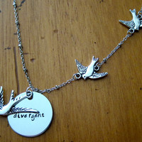 Divergent Inspired Necklace. Tris Three Flying Birds Tattoo. Silver colored, charm pendant, hand stamped jewelry.