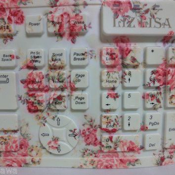 SALE LIZ LISA Floral Print Silicon Keyboard Pink Flower Japan Very Rare Kawaii