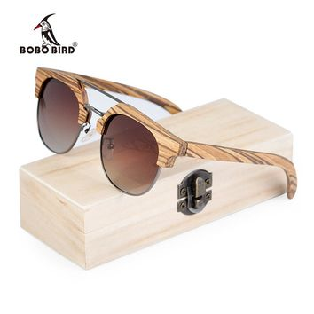 BOBO BIRD Men Sunglasses Polarized Wood Sun Glasses Women Polarized Retro UV400 Vintage Glasses in Wooden Gift Box W-DG15b