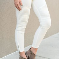 City Slicker Moto Jeggings - Ivory