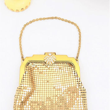 Whiting and Davis Gold Mesh Purse, Rhinestone Clasp, With Original Mirror