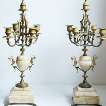 Vintage Candelabra Marble Gold Candelabra Four Arm Candelabra Rococo Revival Gothic Baroque Set of 2 Candelabras Halloween Decorations