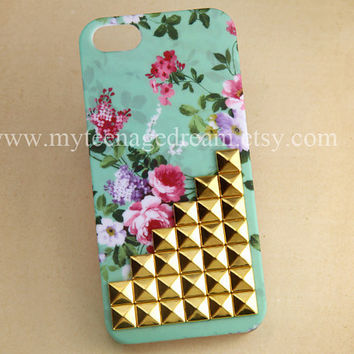 Iphone 5 Case, studded floral Cases for iPhone 5 golden studs mint green flower rose IPHONE 5 Case, teal iphone 5 case