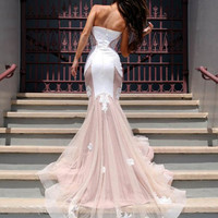 Custom made white lace tulle mermaid long prom dress, evening dress