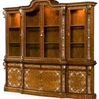 Mother of pearl, rosewood china cabinet library bookcase