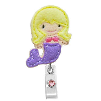 Cute Little Blond Mermaid - Name Badge Holder-Nurses Badge Holder - Cute Badge Reels - Unique  ID Badge Holder - Felt Badge - RN Badge Reel