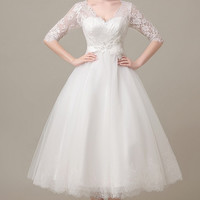 Tea Length All Over Lace Wedding Gown