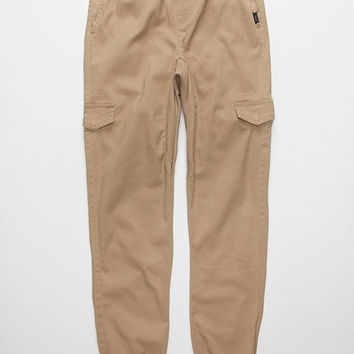 Nitrous Twill Cargo Boys Jogger Pants Dark Khaki  In Sizes