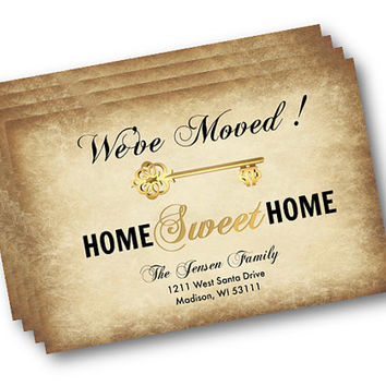 Moving Announcement - DIY editable we have moved announcement postcard printable - We are moving - We moved - we've Moved rustic key