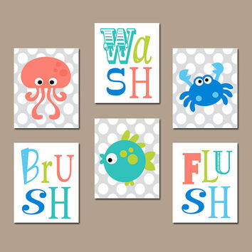 Ocean Animals BATHROOM Wall Art, Sea Animals CANVAS or Prints, Kid Wash Brush Flush, Kid Child BATHROOM Rules, Octopus Crab Fish, Set of 6