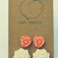 Rose and Dahlia Cabochon Flower Earrings