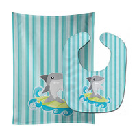 Surfin Shark on Stripes Baby Bib & Burp Cloth BB6942STBU
