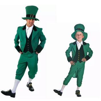 Irish Family Group Children Leprechaun Costume Idea St. Patricks Day Elf Outfit Cheap Fancy Suits For Man & Kids Free Shipment