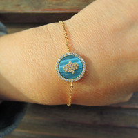Hamsa evil eye Bracelet , Protection Bracelet, Good luck bracelet , Gold plated bracelet , turkish eye -  kaballah jewelry