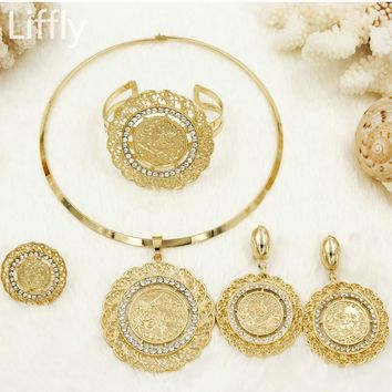 Liffly 2018 Fashion Wedding Engagement Jewelry Gift Gold Coin Women Jewelry Necklace Earrings African Beads Jewelry Sets